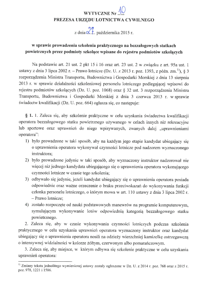 Wytyczne Nr 10 Prezesa ULC w sprawie szkoleń praktycznych UAVO