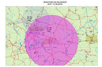 ŚDM 2016 w Krakowie i Częstochowie - poglądowa mapa zakazu lotów m.in. dronów