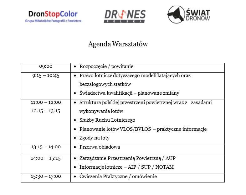 Agenda na Warsztaty Dronowe - 11.09.2016 - Kraków
