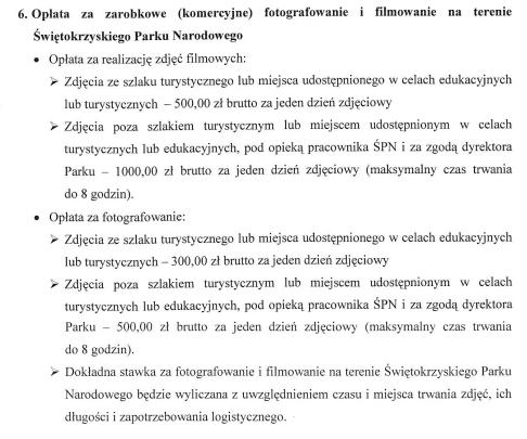 Cennik komercyjnego fotografowania i filmowania na terenie Świętokrzyskiego Parku Narodowego