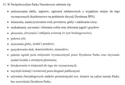Zakaz lotów dronów na terenie Świętokrzyskiego Parku Narodowego