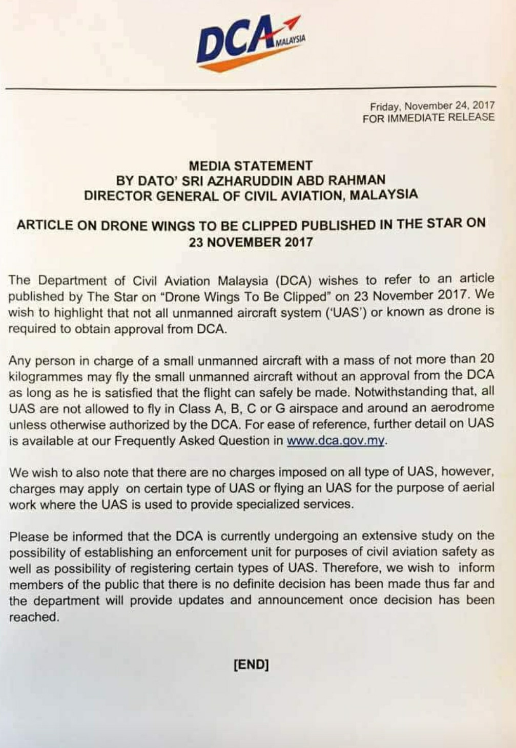 Loty dronów w Malezji