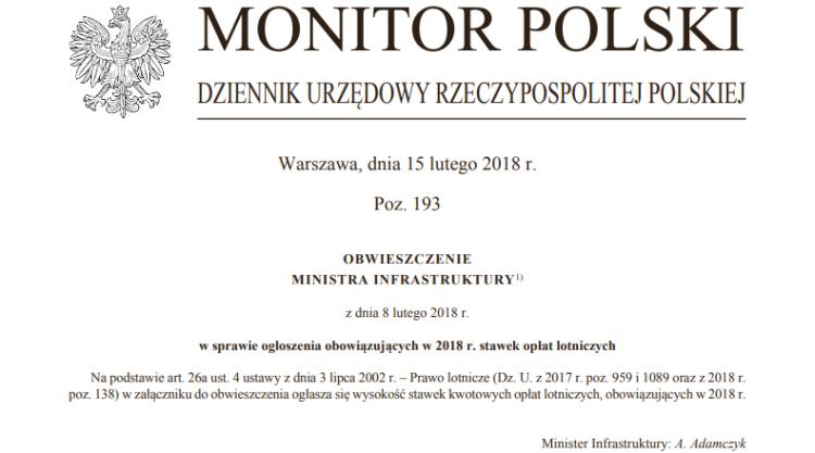 Obwieszczenie Ministra Infrastruktury - Nowe opłaty lotnicze 2018