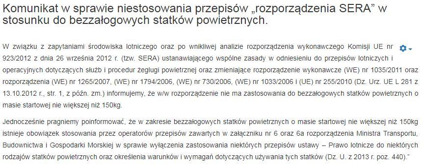 Komunikat ULC w sprawie SERA - 27.03.2018