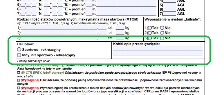 Stary nowy formularz PAŻP do lotów BSP w CTR