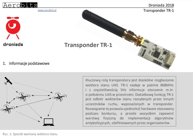 Założenia użycia tranponderów TR-1 firmy Aerobits na Droniadzie 2018