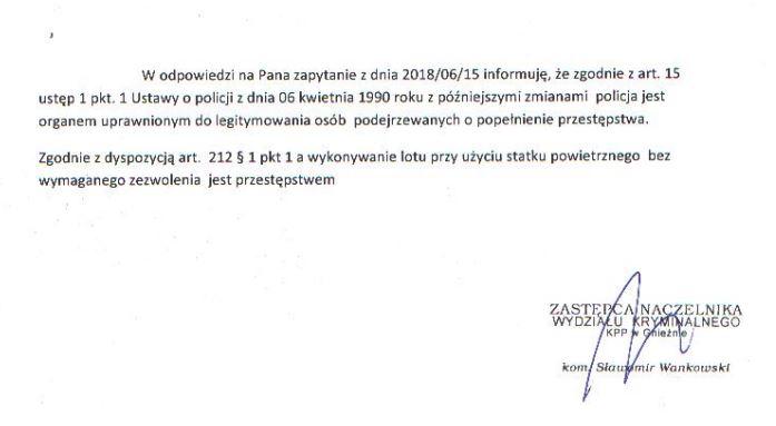 KPP Gniezno - odpowiedź w sprawie legitymowania operatorów dronów
