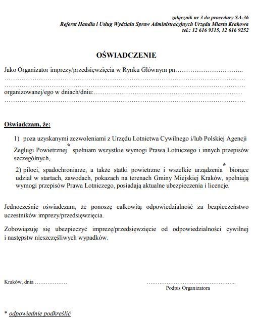 Załącznik nr 3 - oświadczenie PAŻP - UM Kraków