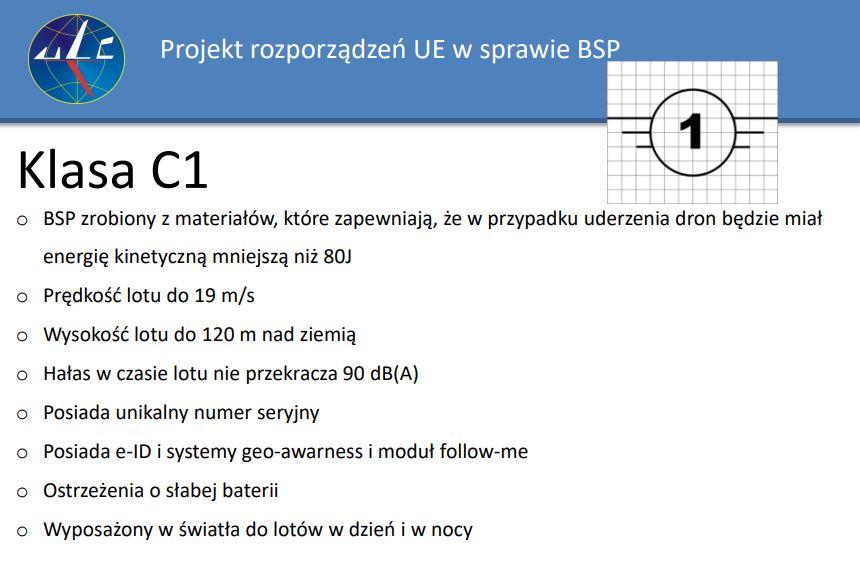 Klasa C1 dronów wg przepisów UE