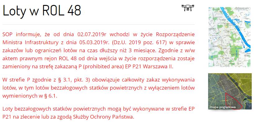 Loty BSP w ROL48 - EPP21 Warszawa II - strefa zarządzana przez SOP