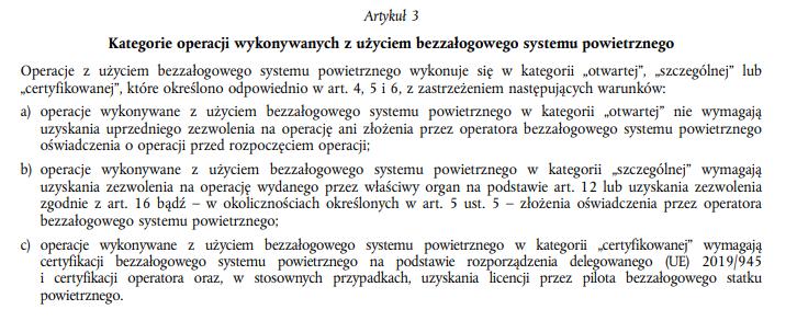 Artykuł 3 - Kategorie operacji BSP - Rozporządzenie wykonawcze UE 2019/947