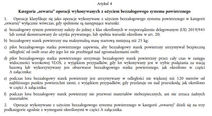 Artykuł 4 - Kategoria otwarta operacji BSP - Rozporządzenie wykonawcze UE 2019/947