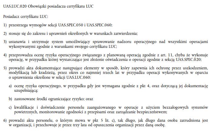UAS.LUC.020- Obowiązku posiadacza LUC - Rozporządzenie wykonawcze UE 2019/947