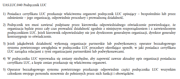 UAS.LUC.040 - Podręcznik LUC - Rozporządzenie wykonawcze UE 2019/947