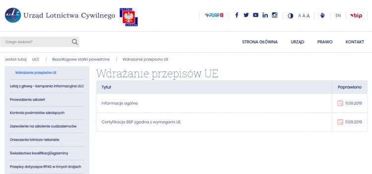Strona ULC - wdrożenia przepisów UE