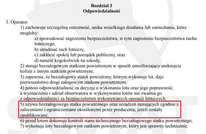 Rozdział 3 z Załącznika 6/6a (VLOS) do rozporządzenia wyłączającego - Odpowiedzialność operatora drona