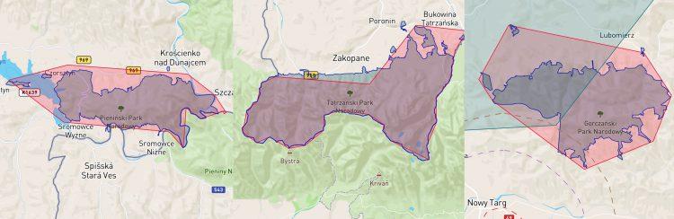 Granice parków narodowych w DroneRadar - 31.12.2019