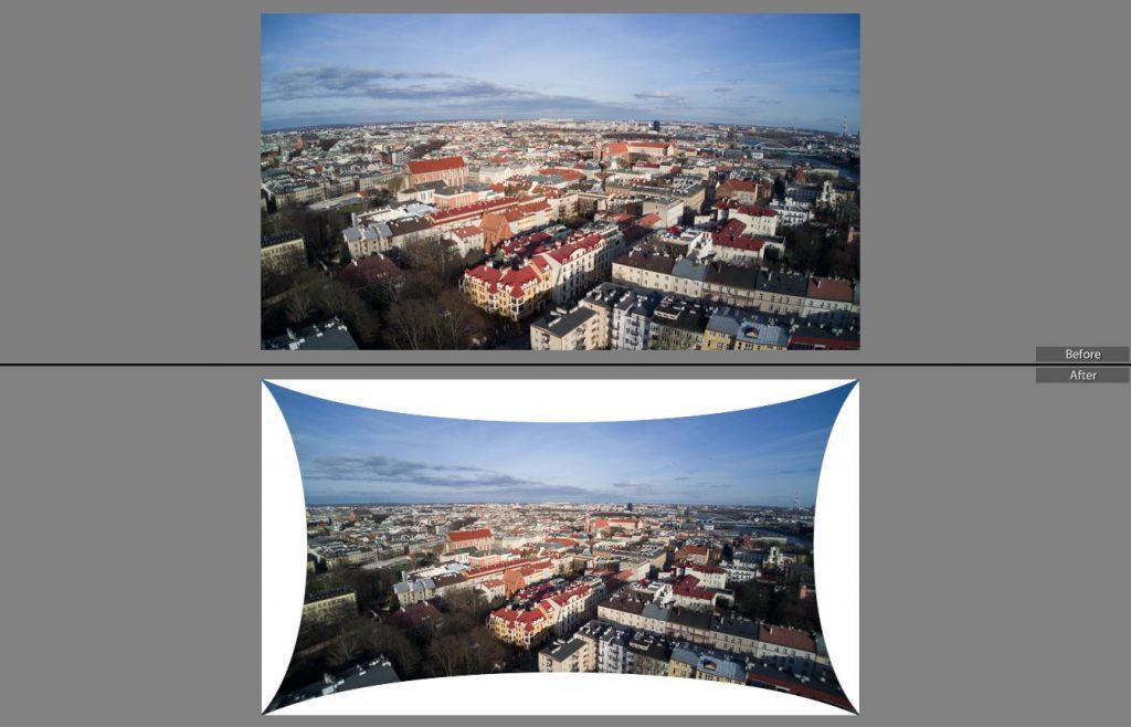 Dystorsja soczewki kamery w Yuneec Mantis G