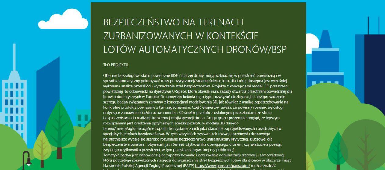 """Ankieta badawcza """"BEZPIECZEŃSTWO NA TERENACH ZURBANIZOWANYCH W KONTEKŚCIE LOTÓW AUTOMATYCZNYCH DRONÓW/BSP"""""""